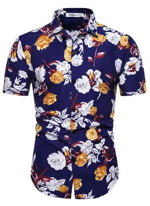 Camisa Masculina Casual Havaiana Moda Praia Rosas C014
