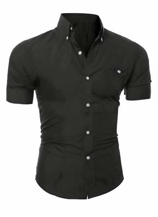 Capa Camisa Manga Curta Casual Slim Fit Moda Verão Preta C013