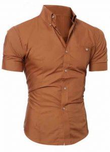 Capa Camisa Manga Curta Casual Slim Fit Moda Verão Marom C013