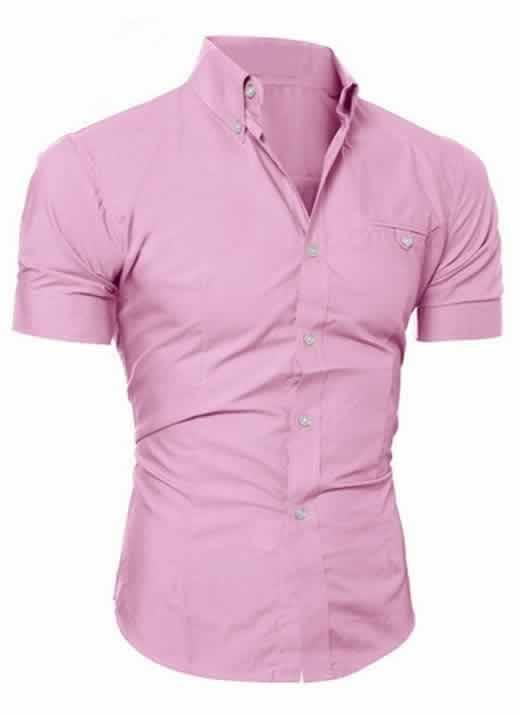 Capa Camisa Manga Curta Casual Slim Fit Moda Verão Rosa C013