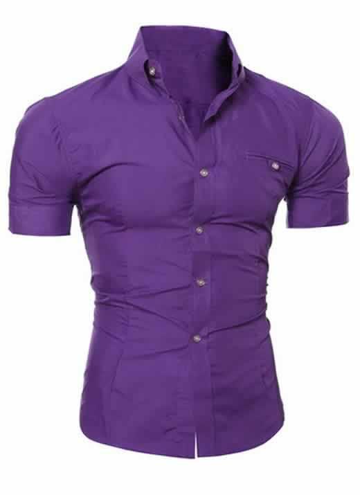 Capa Camisa Manga Curta Casual Slim Fit Moda Verão Roxa C013