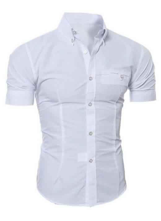 Capa Camisa Manga Curta Casual Slim Fit Moda Verão Branca C013