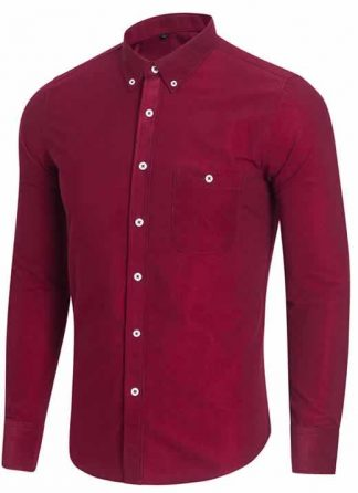 Capa Camisa Casual Masculina Manga Longa Vermelha C009