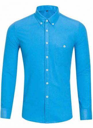 Capa Camisa Casual Masculina Manga Longa Azul Claro C009