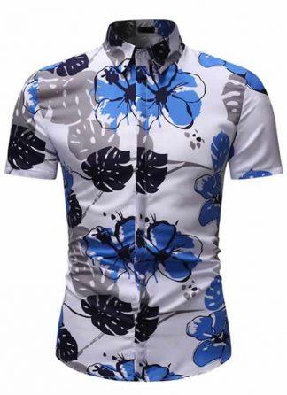Camisa Floral Slim Fit Moda Verão Azul C010