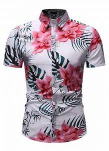 Camisa Floral Slim Fit Moda Verão Fucsia C010