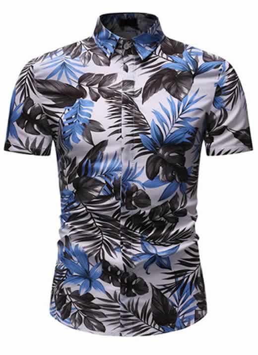 Camisa Floral Slim Fit Moda Verão Azul Ceu C010