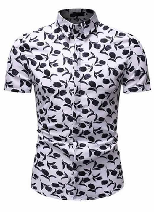 Camisa Floral Slim Fit Moda Verão Verde C010