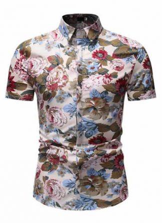 Camisa Floral Slim Fit Moda Verão Caqui C010