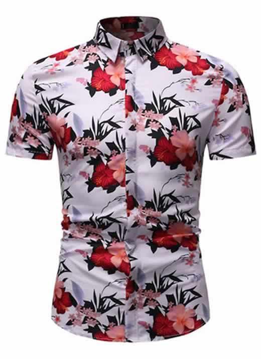 Camisa Floral Slim Fit Moda Verão Rosa C010