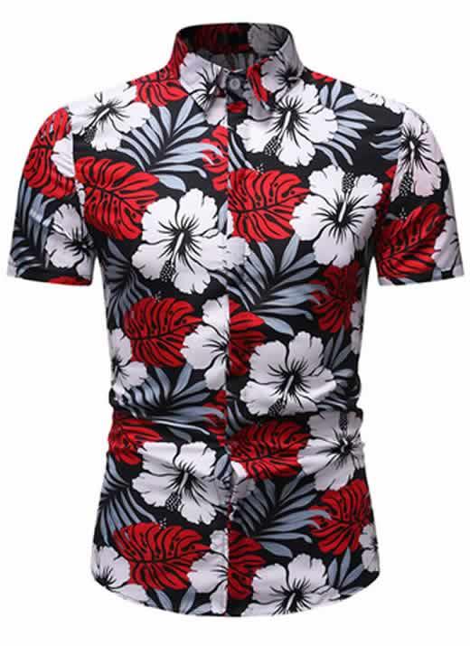 Camisa Floral Slim Fit Moda Verão Vermelha C010
