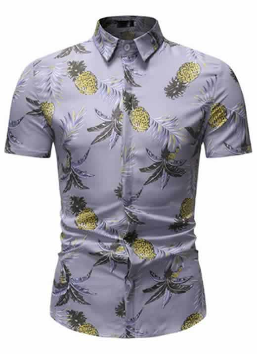 Camisa Floral Slim Fit Moda Verão Cinza C010