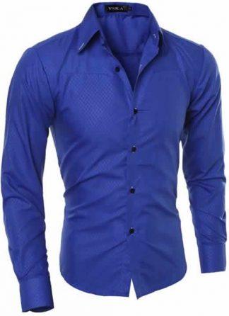 Capa Camisa Slim Fit Turn-down Collar Masculina Azul C008