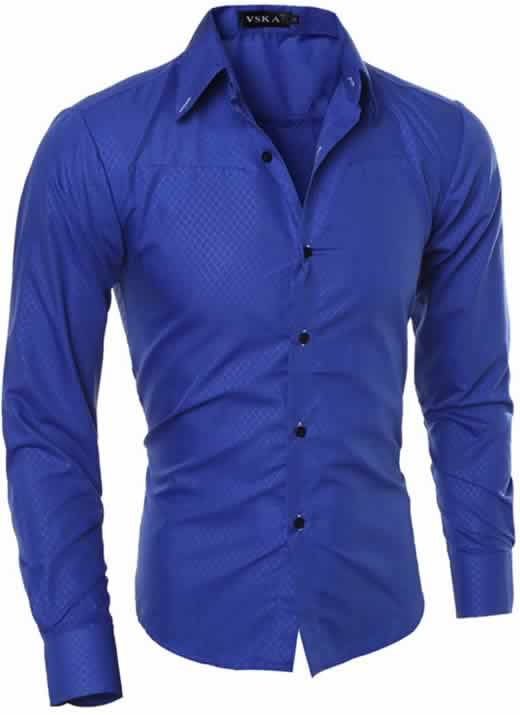 Capa Camisa Slim Fit Turn-down Collar Masculina Azul C008