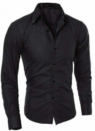 Capa Camisa Slim Fit Turn-down Collar Masculina Preto C008