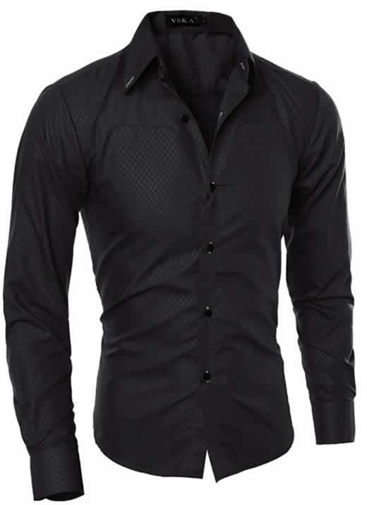 Capa Camisa Slim Fit Turn-down Collar Masculina Preto C008
