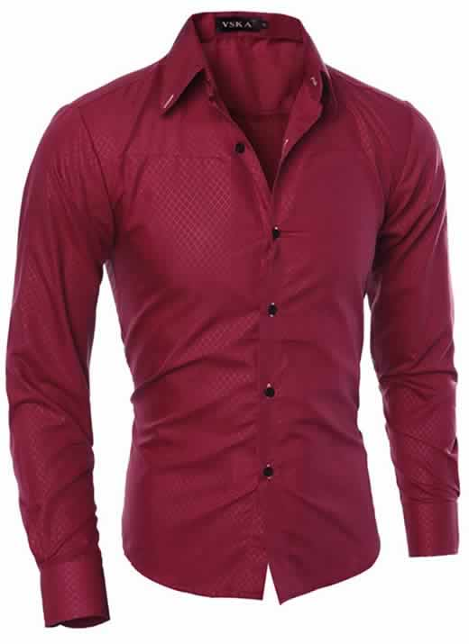 Capa Camisa Slim Fit Turn-down Collar Masculina Vinho C008