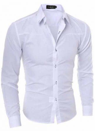 Capa Camisa Slim Fit Turn-down Collar Masculina Branca C008