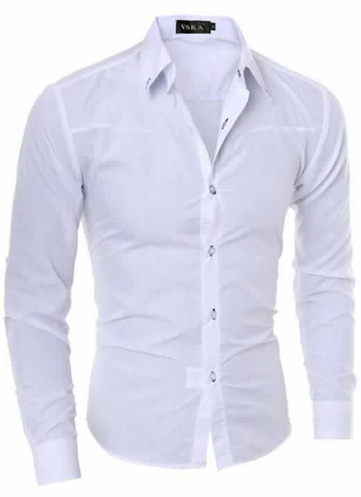 Capa Camisa Slim Fit Turn-down Collar Masculina Branca C008