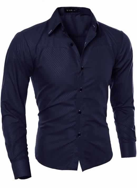 Capa Camisa Slim Fit Turn-down Collar Masculina Azul Escuro C008