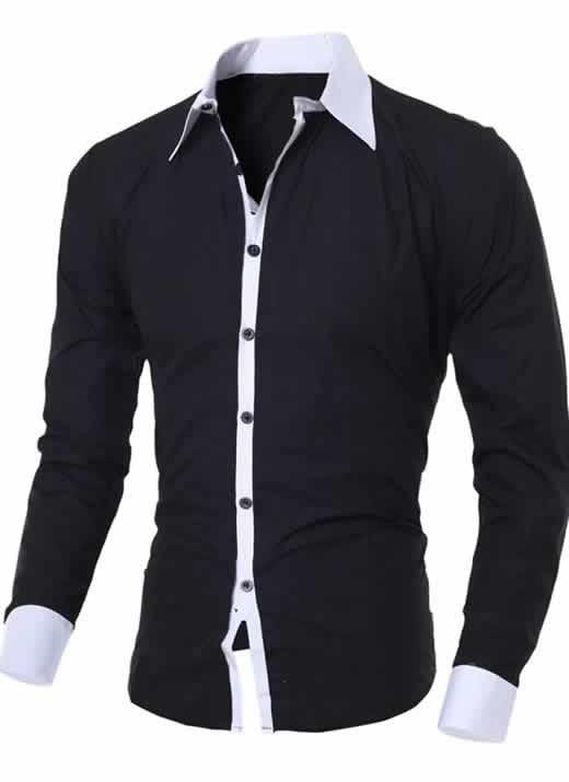 Capa Camisa Manga Longa Elegante de Alta Qualidade Preta C006