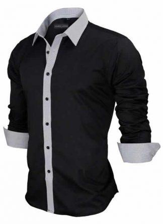 Capa Camisa Slim Fit Estilo Britânico Preta Cinza Lado C005