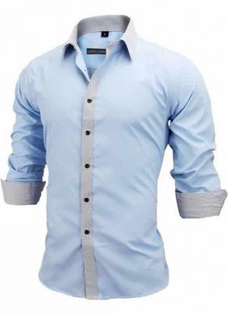 Capa Camisa Slim Fit Estilo Britânico Azul Cinza C005