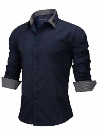 Capa Camisa Slim Fit Estilo Britânico Azul Marinho C005