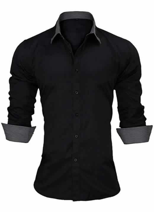Capa Camisa Slim Fit Estilo Britânico Preta C005