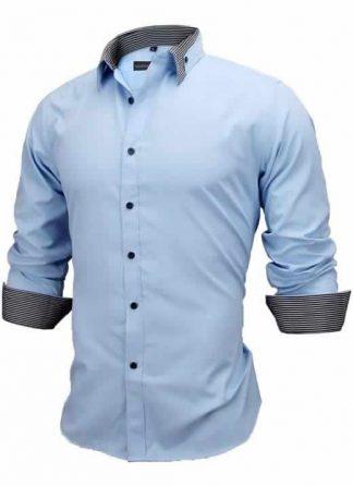Capa Camisa Slim Fit Estilo Britânico Azul Cinza Escuro C005