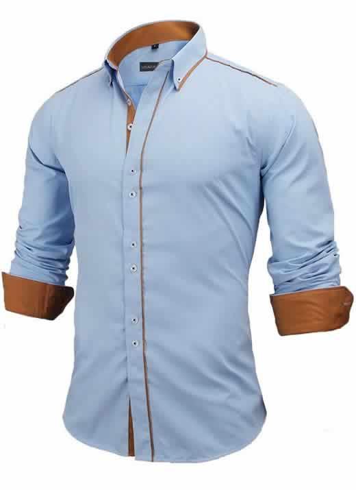 Capa Camisa Slim Fit Estilo Britânico Azuk Marrom C005