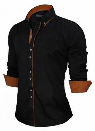 Capa Camisa Slim Fit Estilo Britânico Preta Marrom C005