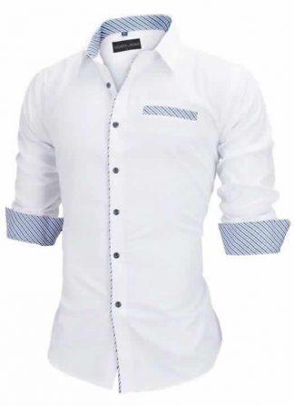 Capa Camisa Slim Fit Estilo Britânico Branca Azul C005