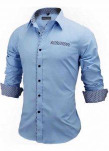 Capa Camisa Slim Fit Estilo Britânico Azul Cinza Claro C005
