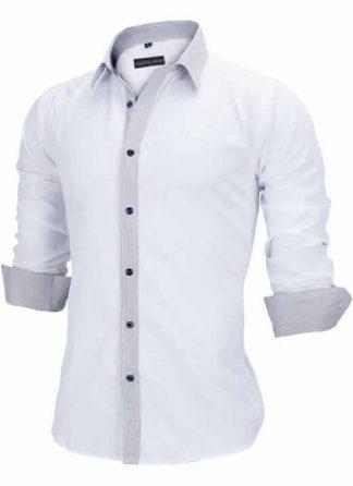 Capa Camisa Slim Fit Estilo Britânico Branco Cinza C005