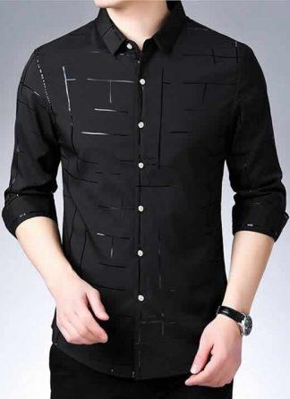 Capa Camisa Slim Fit Lisa Xadrez Manga Longa PretoC007