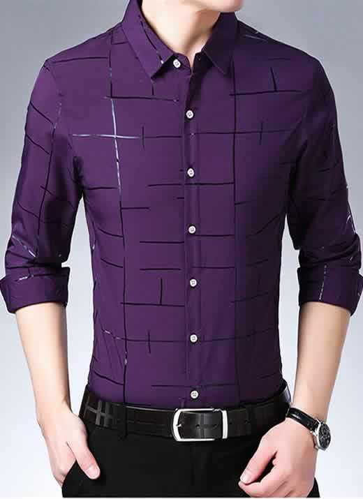 Capa Camisa Slim Fit Lisa Xadrez Manga Longa Roxo C007
