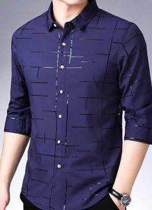 Capa Camisa Slim Fit Lisa Xadrez Manga Longa Azul Marinho C007