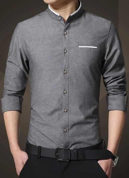Camisa Gola Mandarim Padre Manga Longa Slim Fit Cinza Escuro C002