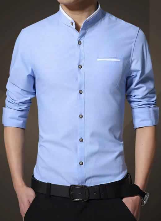 Camisa Gola Mandarim Padre Manga Longa Slim Fit Azul Claro C002