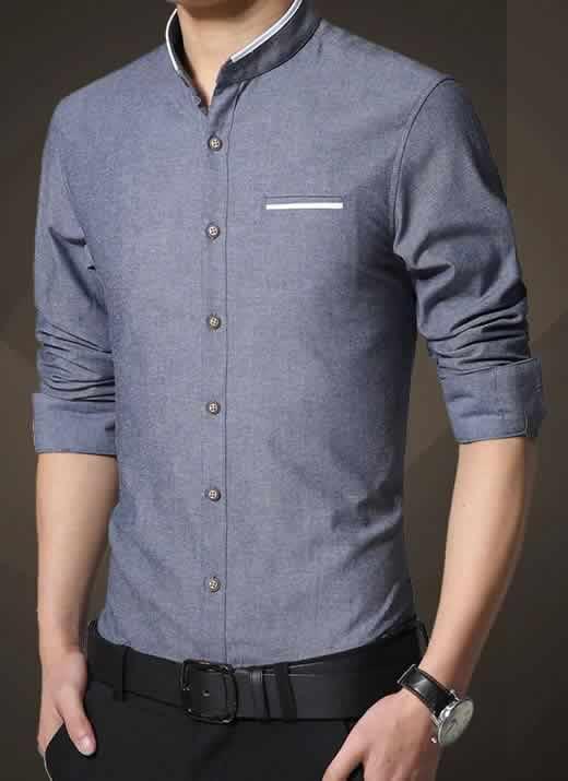 Camisa Gola Mandarim Padre Manga Longa Slim Fit Azul Jeans C002