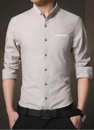 Camisa Gola Mandarim Padre Manga Longa Slim Fit Bege C002