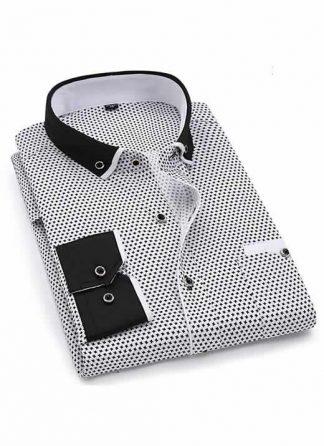 Capa Camisa Slim Fit Luxury Social Casual Preto/Branco C004