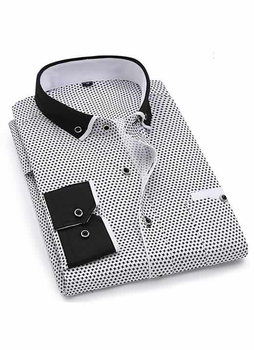 Capa Camisa Slim Fit Luxury Social Casual Preto/Branco C004