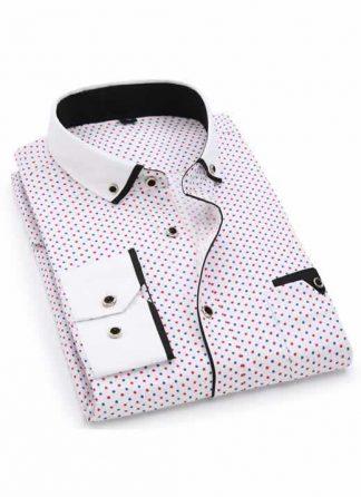 Capa Camisa Slim Fit Luxury Social Casual Branco/Vermelho C004