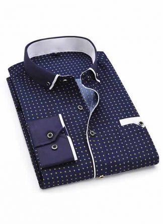 Capa Camisa Slim Fit Luxury Social Casual Azul Escuro/BrancoC004