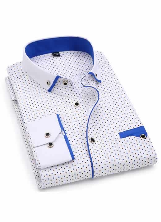 Capa Camisa Slim Fit Luxury Social Casual Branco/AzulC004