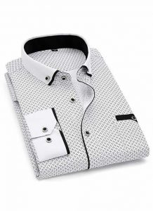 Capa Camisa Slim Fit Luxury Social Casual Branco/Preto C004