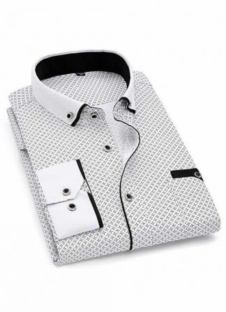 Capa Camisa Slim Fit Luxury Social Casual Branco/Preto C004