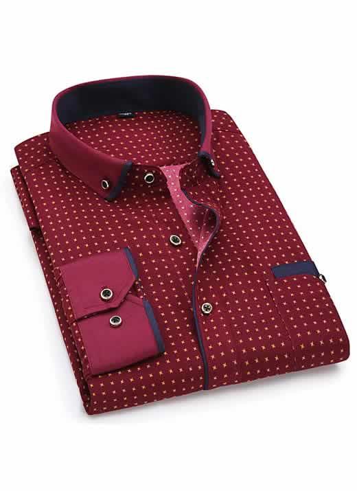 Capa Camisa Slim Fit Luxury Social Casual Vinho/Azul C004